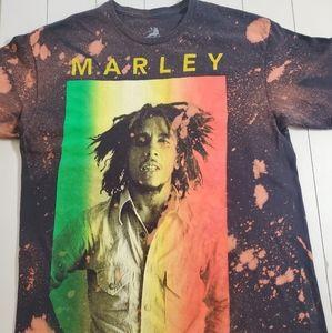 Custom Bleached Bob Marley Band Tee L